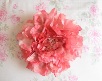 Vintage  1990's Pink Rose Accent Pillow