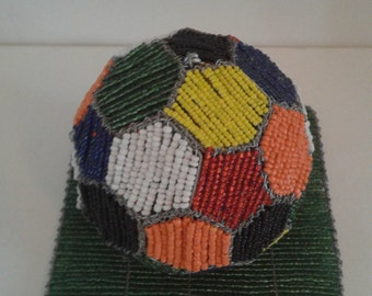 SOCCER BALL ORNAMENT. Hand crafted in Africa. Made from thousands of beads. Ideal gift for the soccer fan. Also table ornament for function.