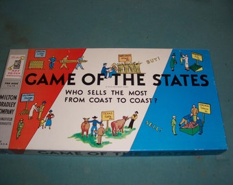 Vintage 1950's Game of the States...Milton Bradley Complete Excellent Condition..48 States..Old School Educational Fun..