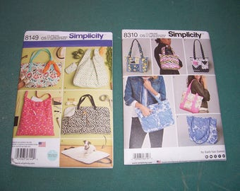 Simplicity 8149 or Simplicity 8310..Pattern for Totes and Travel Dog Bed...New for 2016/17...Uncut...Purse Patterns...Quilted Bags..