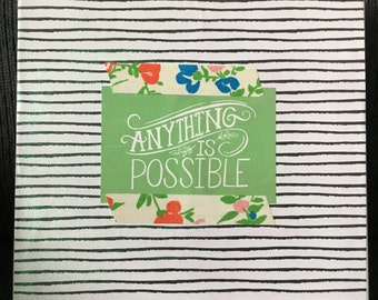 """Anything is possible 12""""x12"""" mixed media canvas comes ready to hang and is ready to ship!  Canvas, paper, fabric washi, mod podge, glitter"""