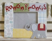 Personalized 5x7 Picture Frame New Baby Boy Elephant Zoo Animals Baby Shower Custom Name