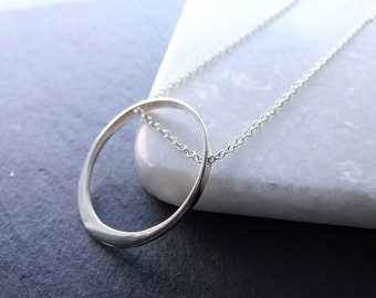 Silver Floating Circle Necklace Eternity Circle Necklace Large Ring Necklace Geometric Necklace Sterling Silver Necklace
