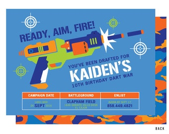 Dart Gun Birthday Invitations, Dart Wars Invitation, Gun Battle Invitation, War Invitations
