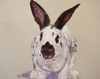 Custom Rabbit portrait Gouache watercolor on paper