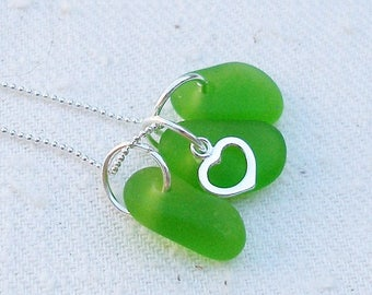 Sea Side--Lime Green Sea Glass Beach Glass Necklace- Sterling Silver Necklace   408