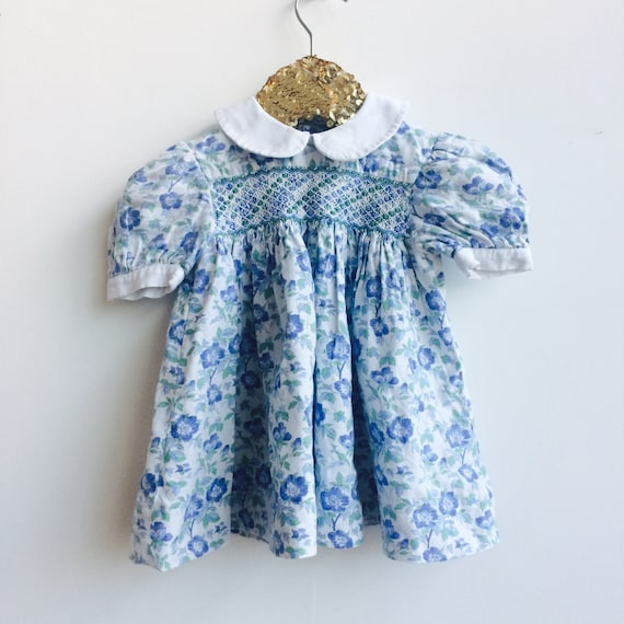 Vintage Dress 3-6 Months Baby Dress with collar and smock puff sleeves