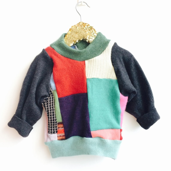 FOLD Kids 2-3 Years Jumper Sweater Patchwork Top Double Layer in Cashmere Handmade Upcycled Unisex