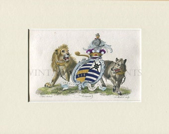 Original 1790 Heraldry, Vernon Coat of Arms With a Lion, Boar, and Shield, Hand Coloured British Aristocracy Armorial Engraving