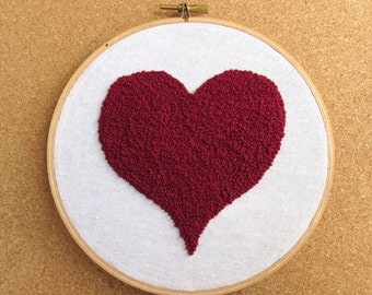 "Embroidery Hoop Art • ""French Heart"" • French Knot Big Red Heart Embroidery"