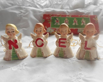 Vintage Porcelain Noel Angel Bells, Christmas Angel Figurines, Set of 4 with Original Box, As Is Condition