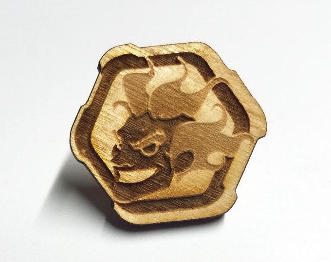 Overwatch Junkrat Pin   Laser Cut Jewelry   Wood Accessories