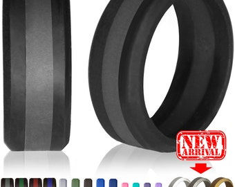 Silicone Wedding Ring by Knot Theory - Safe & Lightweight Wedding Band (Black with Slate Grey Stripe)