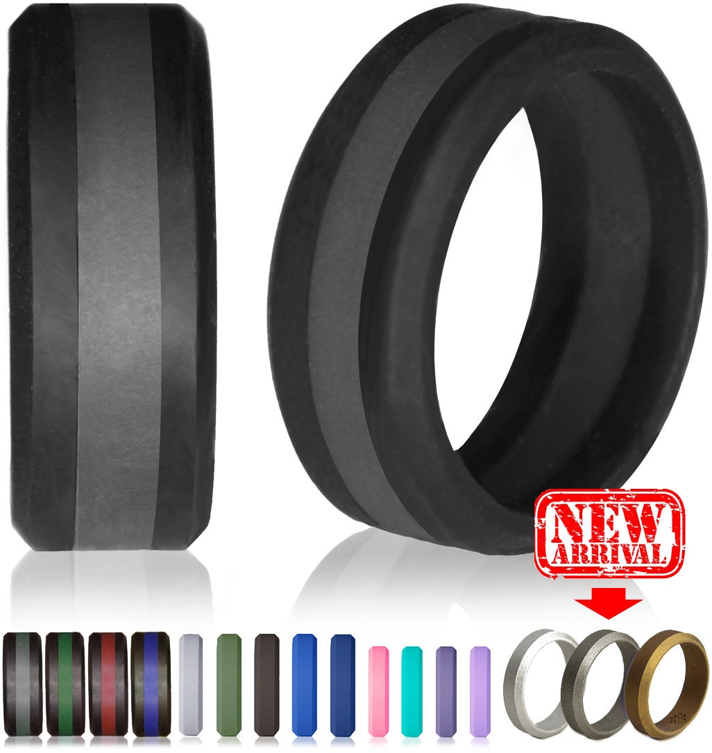 mens wedding band tire tread wedding band Silicone Wedding Ring by Knot Theory Safe Lightweight Wedding Band Black with Slate Grey Stripe