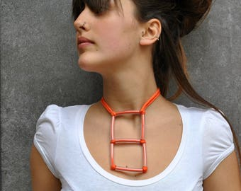 Minimal Necklace Pendant / Fabric geometric necklace / Square pendant / Plastic and fiber necklace / Minimal jewelry / Geometric jewelry