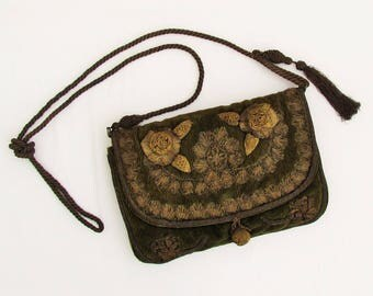 Antique velveteen purse with metallic gold ribbon, lace, cord strap, and tassel, c.1910 green velveteen shoulder bag with metallic gold trim