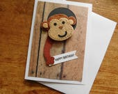 Monkey Birthday Card  - Monkey Card - Birthday Card - Animal Birthday Card - Chimpanzee Card - for all ages - The Artsy Acorn