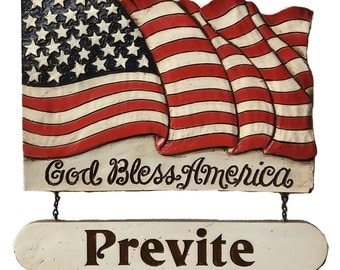 God Bless America Personalized Flag Sign