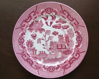 Pink Willow Bread or Dessert Plate Made in Occupied Japan by Maruto