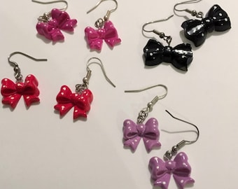 Bow earrings, polka dot, rockabilly, romantic, rock and roll, pink, purple, black, red