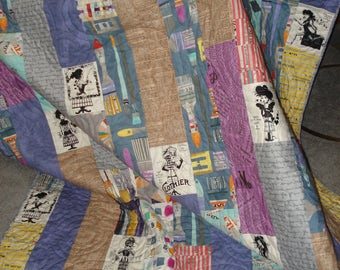 Lap/Throw Quilt:  Fabric Artist,, modern quilt, multi-colored quilt, OOAK gift, Mother's Day gift, artist gift, seamstress gift, art teacher