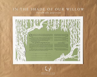 In the Shade of Our Willow papercut ketubah | wedding vows | Quaker certificate | anniversary gift