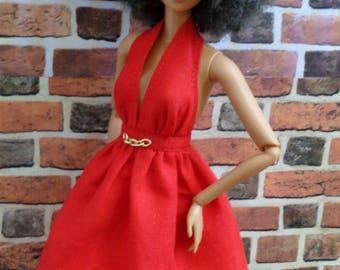 Red Halter SunDress for Barbie or similar fashion doll