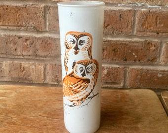 Vintage Glass Owl Candle Holder