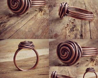 Copper Ring - Rose - Fashion Jewelry - Wire Wrapped Ring - Copper Rose Ring - Fashion Ring - Handmade