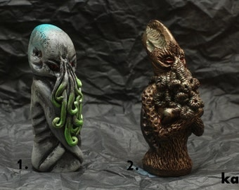 Cthulhu polymer clay chess pieces OOAK