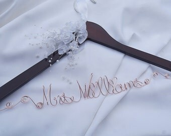Rose Gold Bride Mrs Hanger With Ornate Script Details, Flowers & Leaves, EXPRESS Order