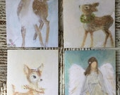 Package of 4 Original Art Greeting Cards/Christmas Cards/Deer Christmas Card/Fawn Christmas Card/Angel Christmas Card/FREE SHIPPING