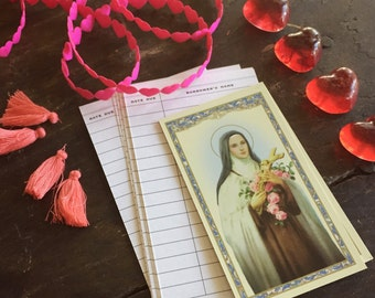 Valentine Supply Kit - Includes Saint Theresa Prayer Cards Hearts of Glass Pink Puffy Heart Trim Pink Tasselss and Library Cards