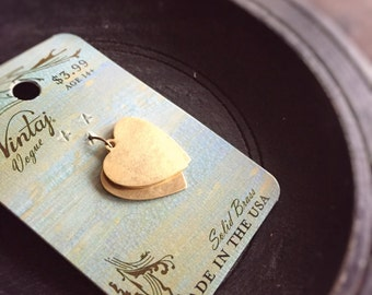 Vintaj Solid Brass Heart Charms (3) - 20mm Stamping Blanks - Gold Heart Charm - I Love You
