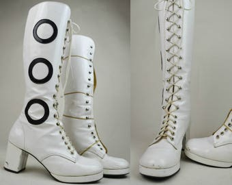 90s Does 60s White Patent Black Hoops Lace Up Knee High Mod Go Go Boots UK 6 / US 8.5 / EU 38