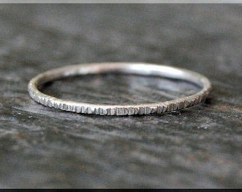 Sterling Silver Ultra Thin Twig Ring, Bark Texture Ring, Sterling Silver Stacking Ring, Woodland Ring, Hand Textured Bark Ring