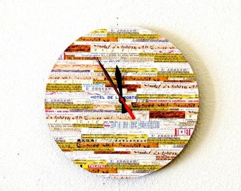 Rustic Wall Clock, Home Decor, Decor and Housewares, Home and Living, Rustic Decor, Record Clock, Orange and Tan, Unique Clock, Gift Idea