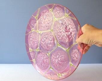 Large Higgins Fused Art Glass Platter - Thistledown