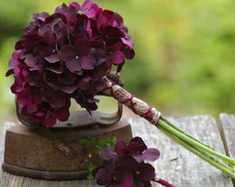 Maids or Toss Bridal Bouquet Wand PLUM Hydrangea Spring