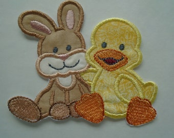 Duck and Bunny iron on or sew on applique patch