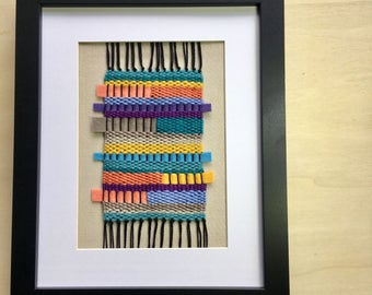 CUSTOM FOR LISA - 50% reduced - Rainbow colored hand-woven modern textile framed weave