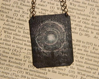 Art necklace Gustave Dore Purgatory mixed media jewelry