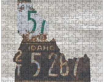 Idaho Jigsaw Puzzle | Vintage License Plate Art | State Outline | Fun Puzzle