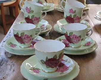 Salisbury vintage china tea cup trio