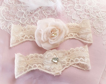 Beige Cream Garter Set Blush Champagne Silk Chiffon Flower Rhinestone Bridal Wedding Garter Belt Prom Honeymoon Elegance Keepsake