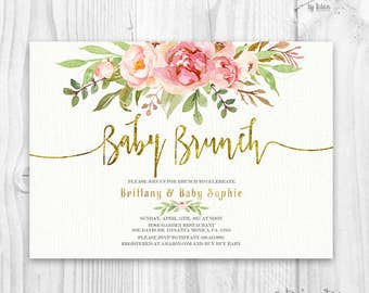 Marvelous Floral Baby Shower Invitation, Brunch For Baby Invitation, Baby Girl Invites,  Boho Baby