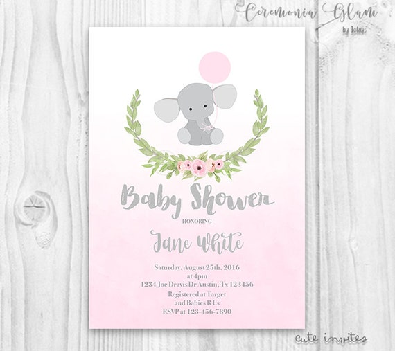 Elephant baby shower girl invitation girl baby shower invitation il570xn filmwisefo