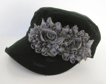 Black Distressed Cadet with Grey Chiffon Flowers Choose With or Without Embellishment
