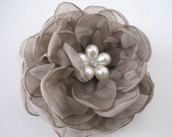Hair Clip Gorgeous Taupe Chiffon Flower Wedding Bride Bridesmaid Prom with Rhinestone Accent Choose Hair Clip or Brooch Pin