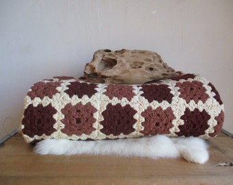 brown afghan blanket bold granny square Crochet Blanket for Home Bedding Lap throw Granny Chic picnic small stadium blanket